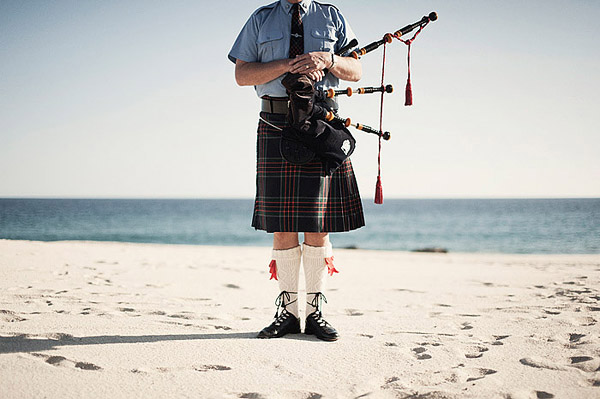 wedding bagpiper on the beach