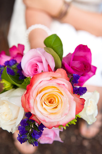 mixed rose wedding bouquet