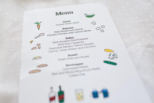 Rustic Minnesota wedding menu