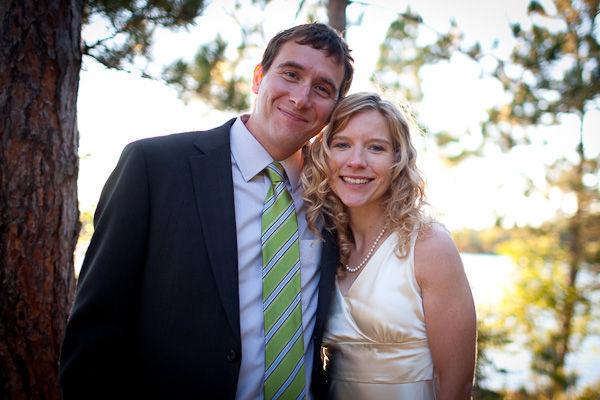 bride and groom at lake