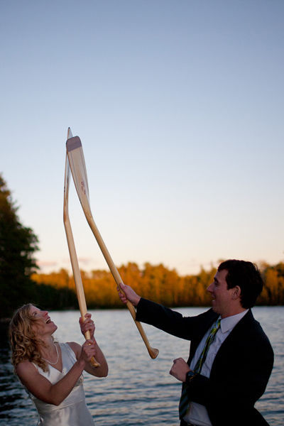 bride and groom paddle rattle