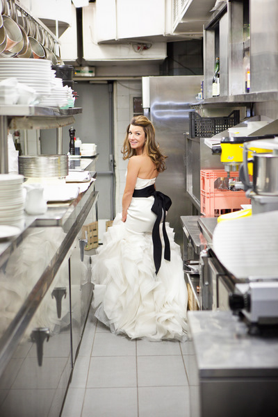 bride in restaurant kitchen