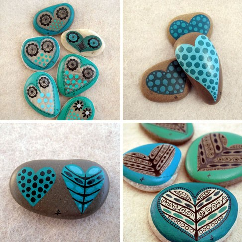 painted heart stones