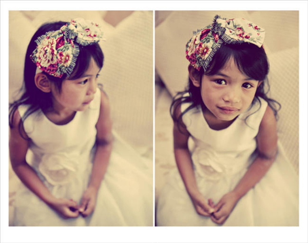 flower girl with bow headband