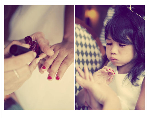 flower girl having nails painted