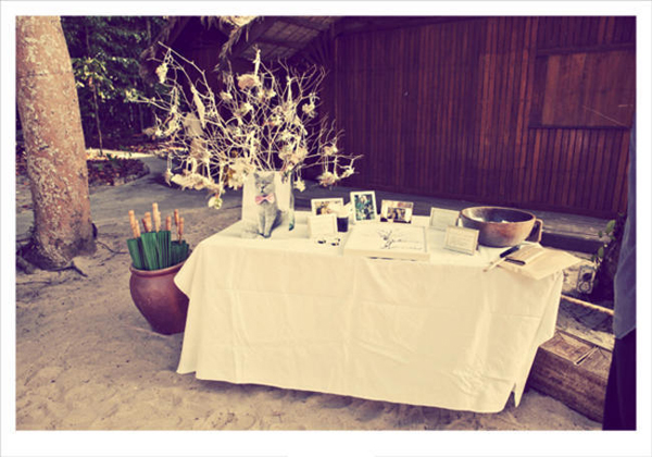 guestbook table on the beach