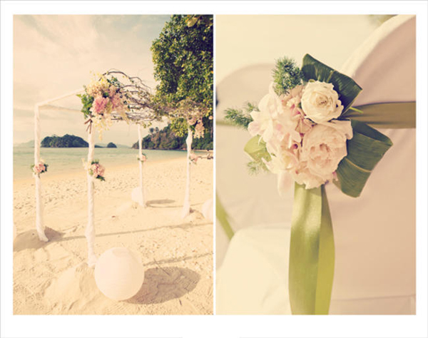 floral chuppah on beach