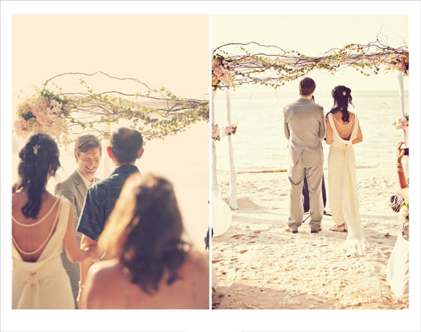 bride and groom getting married on the beach