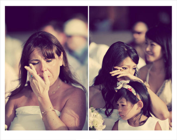 crying wedding guests