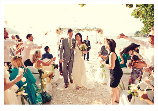 bride and groom recessional petal toss