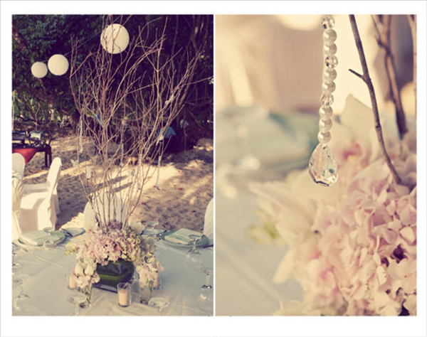 crystal and pearl wedding decor