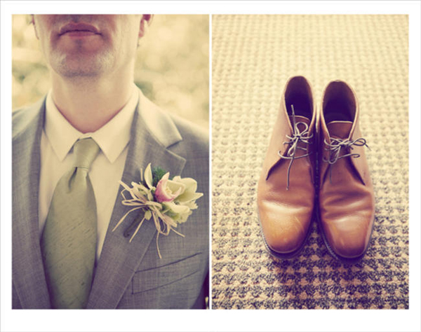 orchid boutonniere and leather desert boots