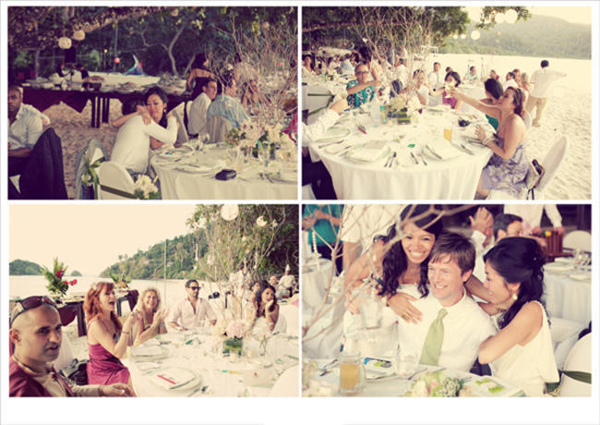 beach wedding reception
