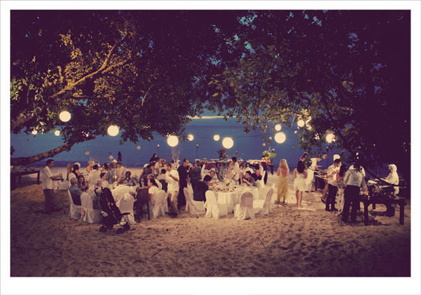 Beach Wedding Reception At Night
