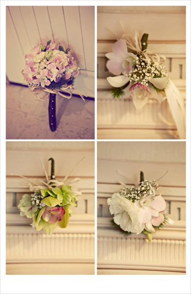 orchid bouquet and boutonnieres