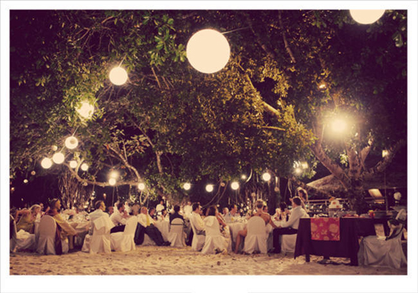 Malaysian beach wedding reception