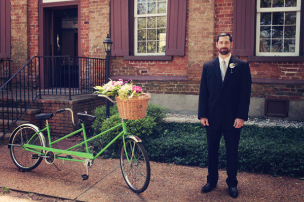 wedding tandem bike with flowers