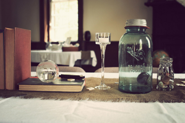 Vintage seminary wedding reception