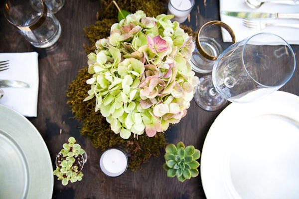 rustic table setting with succulents