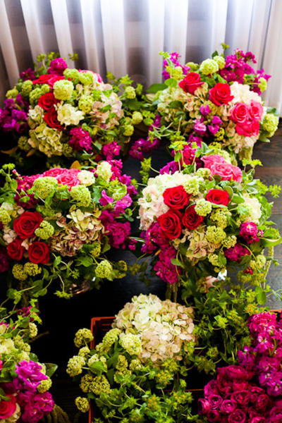 red, pink and green wedding bouquets