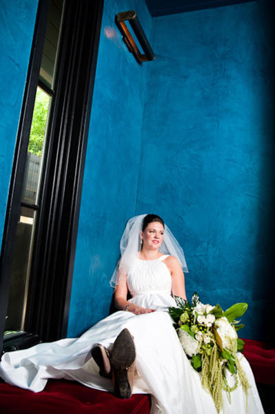 bride portrait against blue wall
