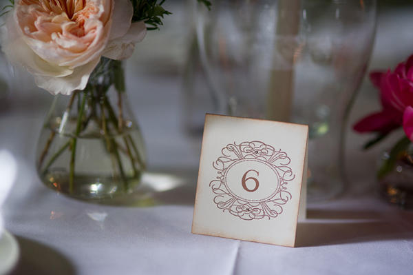 antiqued paper table number