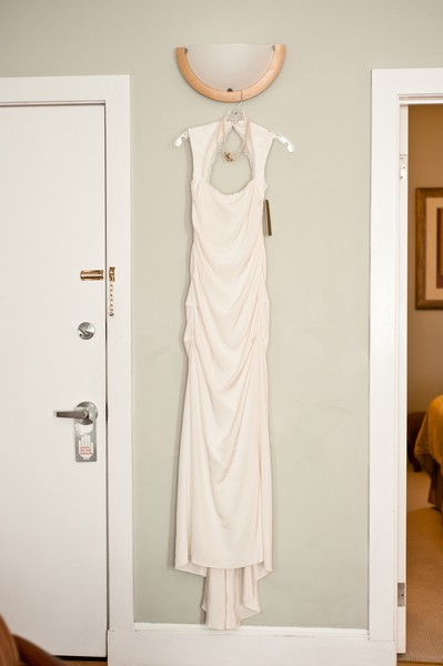 Nicole Miller wedding gown hanging up