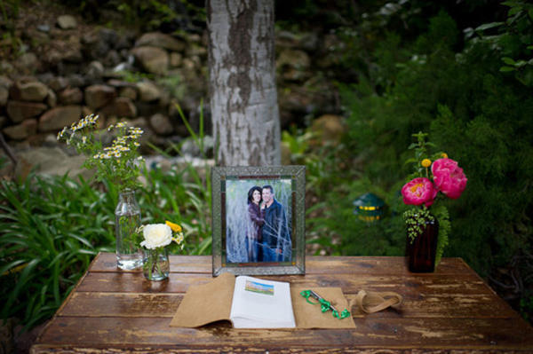 outdoor guestbook table