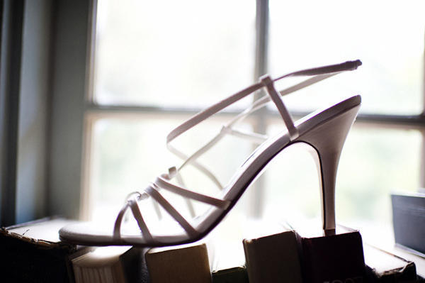 strappy wedding shoe