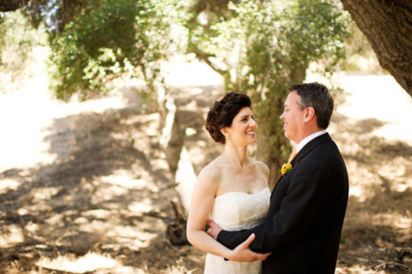 bride and groom portrait under tree