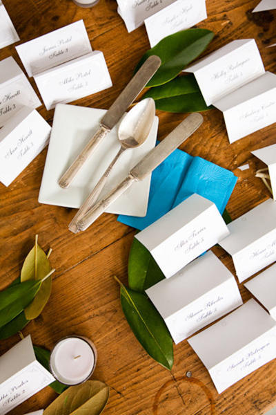 wedding place cards with antique silverware