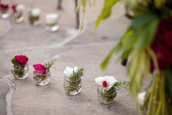 rose and rosemary centerpieces