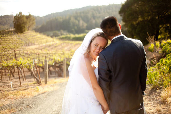 Bride and Groom in Vineyard portrait