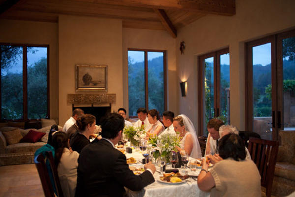 intimate winery wedding dinner