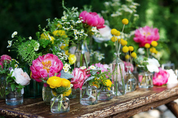 pink yellow and green flower centerpieces