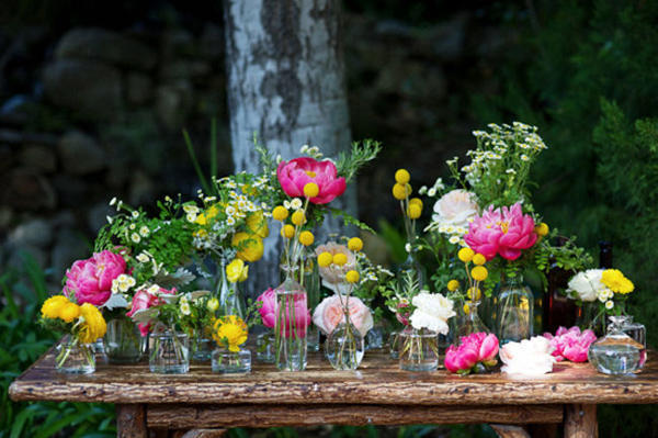 pink peonies and yellow billy buttons