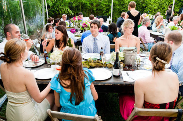 outdoor wedding reception at Saint Cecilia Hotel