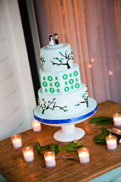 wedding cake with trees and birds