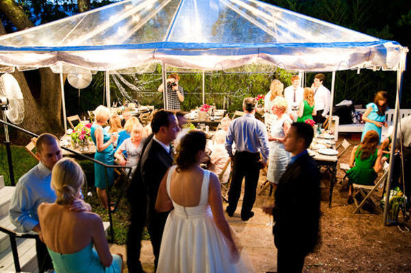 wedding guests at outdoor reception