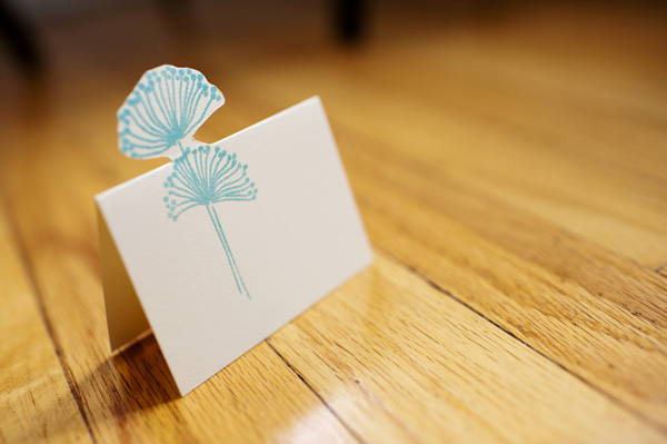 blue floral place card