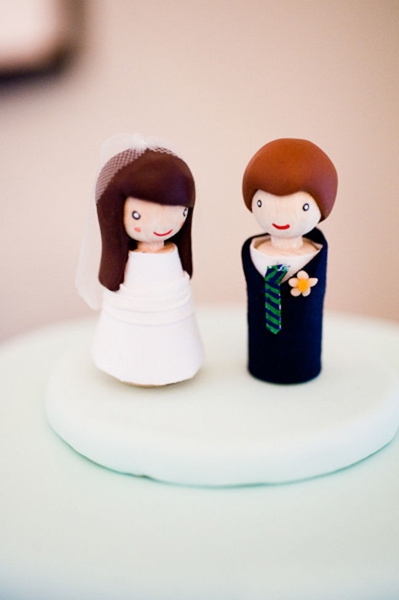 wooden bride and groom cake toppers