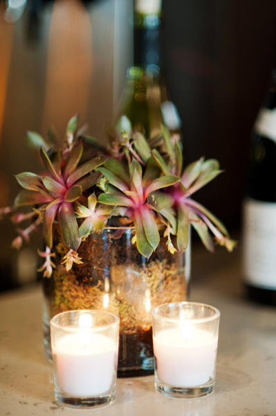 succulent centerpiece and candles