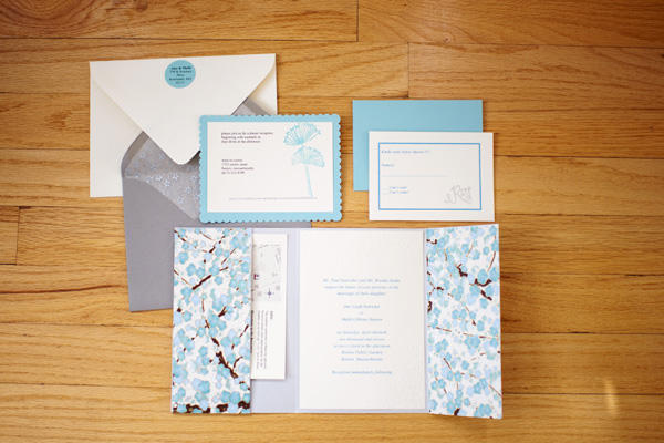 blue floral wedding invitations