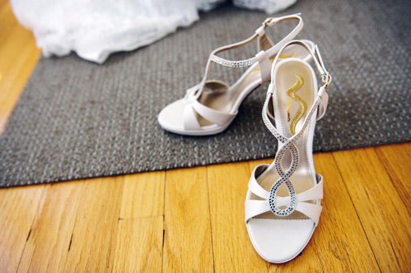 white strappy wedding shoes