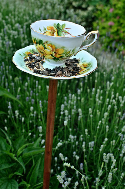 vintage teacup bird feeder