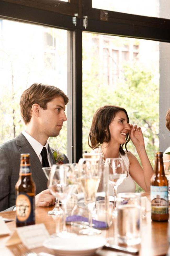 bride crying at reception