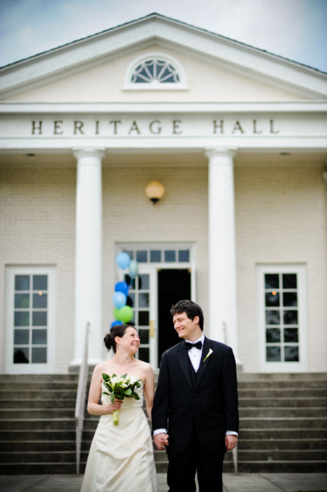 bride and groom outside heritage hall in Seattle