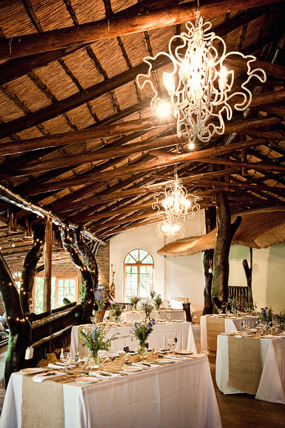 rustic South African lodge with chandeliers