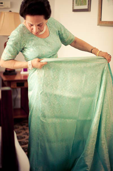 mother of the bride wrapping her sari