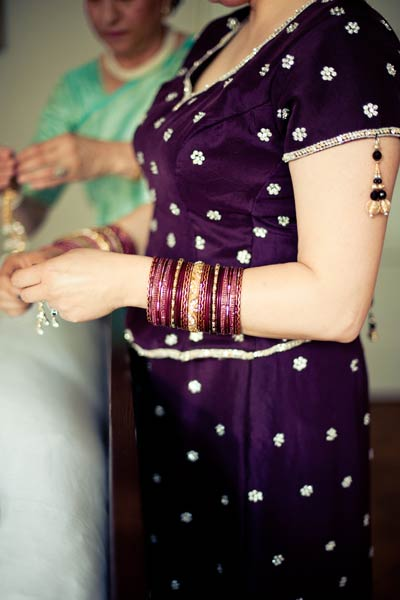 Indian bride wearing wedding bangles